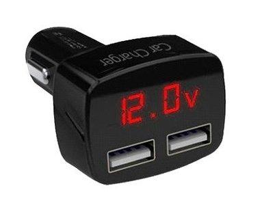 USB Autolader met voltmeter, Amperemeter en Thermometer